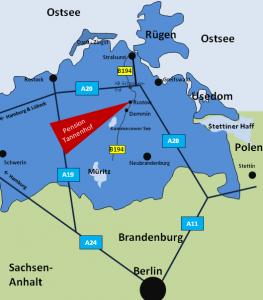 Die Lage der Pension Tannenhof und Rustow in Mecklenburg-Vorpommern